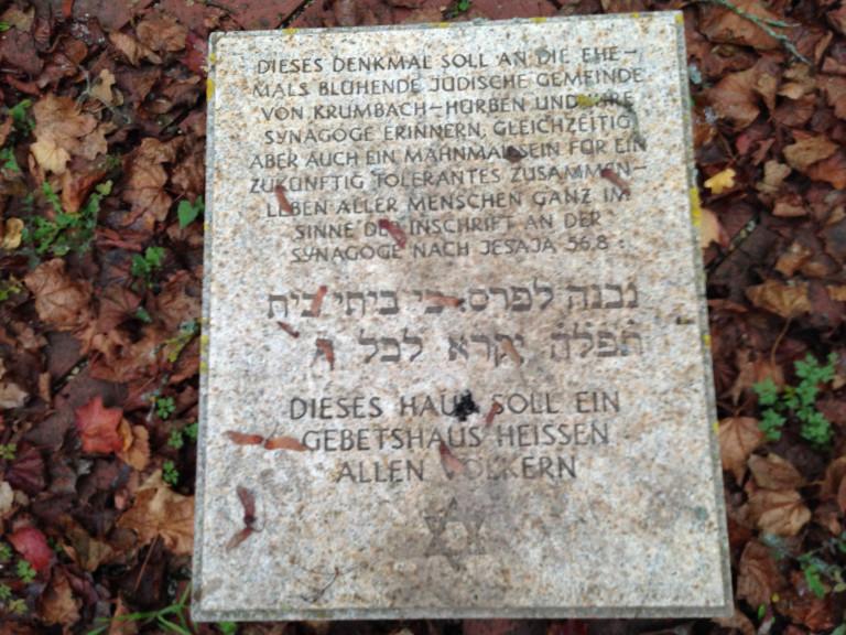 Tafel 1 am Mahnmal jüdische Synagoge Krumbach
